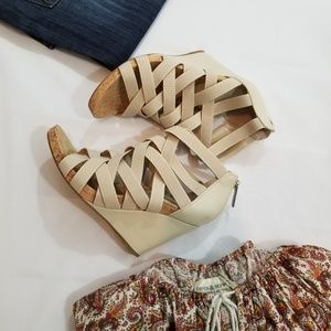 BCBGeneration Beige Strappy Wedge Sandal
